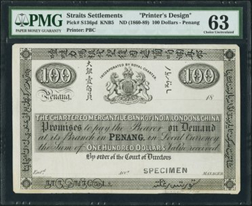 Lot 26375: Straits Settlements, Chartered Mercantile Bank of India, London and China Penang, $100 Proof, ND (1860-89), Pick S136pd. Realized $28,680.