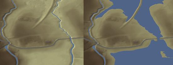 Während der Fundort heute im ebenen Land liegt (li.), zeigen Rekonstruktionen, dass die Siedlung um 750 n. Chr. inmitten einer Fluss- und Seenlandschaft lag und fast komplett vom Umland abgeschnitten war. Wichtigste Verbindung war vermutlich der Wasserweg. Quelle: University of Sheffield.