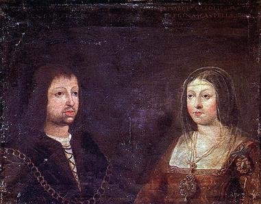 Wedding portrait of King Ferdinand II of Aragon and Queen Isabella of Castile.