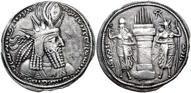 Lot 210: Sasanian Kings. Vahram (Bahram) I. AD 273-276. Drachm. 'Ctesiphon' mint. SNS type I(1)/1ab(1a), Style A/c; Sunrise 757. Very fine. From the Delbert Carl Highlands Collection. Estimate: $200.
