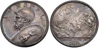 Lot 583: Switzerland. Hannibal / Hannibal Crosses the Alps. Medal. By Jean Dassier & sons, 1740-1750. Eisler 25a; Catenaccipp. 52-3. Extremely fine. From the RBW Collection. Estimate: $100.