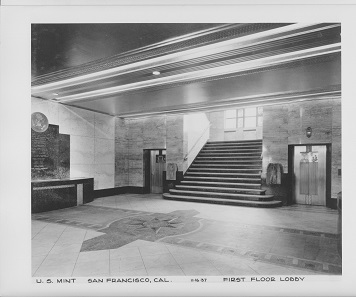 The foyer of the third Mint of San Francisco in a historical photograph. Photograph: National Archive, Gray Brechin has brought this picture to our attention.