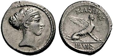 GENS CARISIA. Denar. Ex Lanz 147 n. 213. 3,70 g.