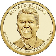 The Presidential dollar 'Ronald Reagan'. Photograph: Wikipedia / Crashguy42.
