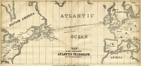 Map of the 1858 Atlantic Cable Route (Courtesy of Bill Burns). From Frank Leslie's Illustrated Newspaper, August 21, 1858.