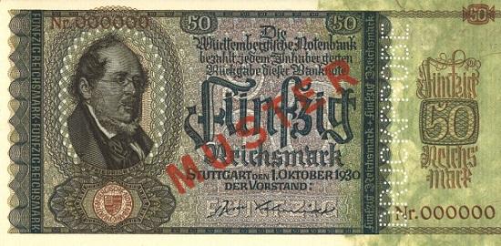50 Reichsmark vom 1.10.1930. Abgebildet ist Daniel Friedrich List (1798-1846), Nationalökonom und Politiker aus Reutlingen. - Die Scheine wurden nicht ausgegeben.