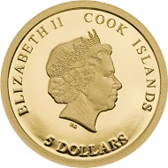 Cook Islands / 5 dollars / .999 gold / 0.5 g. / 11 mm / mintage: 10,000.