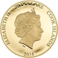 Cook Islands / 20 dollars / .9999 gold / 1/10 oz / 26 mm / mintage: 2016.