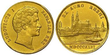 1037792: German States. Bavaria. Ludwig I. Ducat.