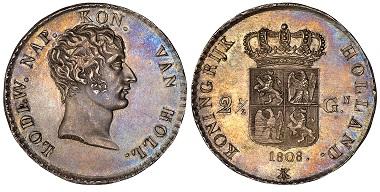 1038296: Netherlands. Lodewijk Napoleon. 2-1/2 Gulden.