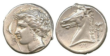 AG008: Siculo-Punic (c.320-315 B.C.), Silver Tetradrachm. Jenkins, SNR 56, 1977, 223-4 (O68/R192); Boston 495 (this obverse die). About extremely fine. £8,500.