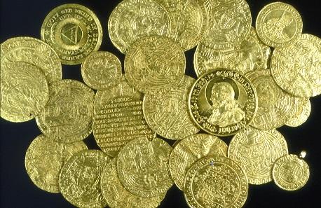 Goldmünzfund von Leipzig, verborgen nach 1668. Gefunden in der ehemaligen Juristenfakultät der Leipziger Universität.