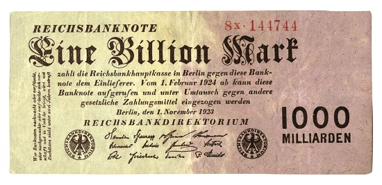 Wertverlust: Reichsbanknote von 1923, Eine Billion Mark. Stadtarchiv Chemnitz.