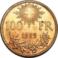Lot 30105: Switzerland. Confederation, 100 Francs, 1925. KM39, Fr-502, HMZ-21193a. Estimate: $20,000-$30,000.