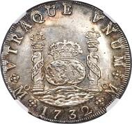 Lot 31109: Mexico. Philip V. 8 Reales, 1732 Mo-F. Estimate: $100,000-$150,000.