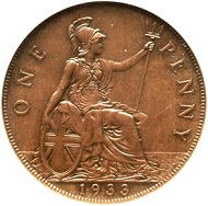 Lot 32330: Great Britain. George V, Penny, 1933. Royal mint. KM838, S-4055, Peck-2279, Freeman-209. Estimate: $100,000-$150,000.