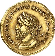 Lot 730: Victorinus. Aureus, Trier, beginning of 270. C. 45 (600 Fr.). Elmer 679 (this coin). Schulte 9a (this coin). Calicó 3822 (this coin). From the Récamier Collection, Bourgey Auction (1925), 458. Second known specimen. Good very fine. Estimate: 15.000 euros.