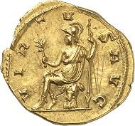 Lot 786: Tetricus I. Aureus, Köln, 272. C. 202 (300 Fr.). Elmer 833 (Trier). Schulte 21a (dieses Exemplar). Aus Sammlung Montagu, Auktion Rollin & Feuardent (1896), 672 (Zuschlag: 920 Gold Francs!). Sehr selten. Vorzüglich. Schätzung: 25.000 Euro.