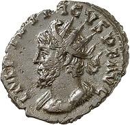 Lot 795: Tetricus I. Antoninian, Köln, 8. Emission, 274. Normanby 1496 (1 Exemplar). Sainte-Pallaye 7556 (1 Exemplar). Jacquier 10 (1989), 375. 6. bekanntes Exemplar einer Büste n. l. Fast vorzüglich. Schätzung: 2.000 Euro.