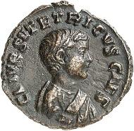 Lot 802: Tetricus II. Denarius (bronze off-metal strike from the aureus die), Trier, 273. Unique. Extremely fine. Estimate: 8,000 euros