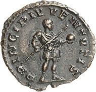 Lot 802: Tetricus II. Denar (Bronzeabschlag vom Aureusstempel), Trier, 273. Unikum. Vorzüglich. Schätzung: 8.000 Euro.