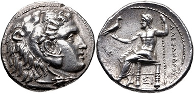 Lot 114: Kings of Macedon. Antigonos I Monophthalmos. As Strategos of Asia, 320-306/5 BC. Tetradrachm. Price 3515; Good Very Fine, lightly toned, slight die shift on obverse, cleaning scratches on reverse. From the collection of Will Gordeon. Estimate: $300.
