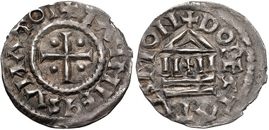 Lot 542: Carolingians. Lothaire I. As Emperor, 840-855. Denier. Coupland, Lothar, pp. 173-5, and pl. 36, 28; Depeyrot 419 var. (obv. legend). Good Very Fine, toned, minor areas of weak strike at periphery. From the estate of Thomas Bentley Cederlind. Estimate: $300.