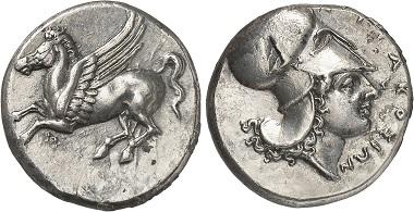 Mit der Eroberung des Timoleon lässt sich die Adaption der korinthischen Münztypen für Syrakus erklären. - Syrakus. Didrachme, 344-317. Aus Auktion Gorny & Mosch 237 (2016), 1170.