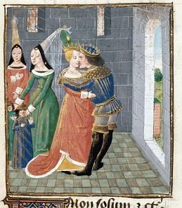 Agathokles küsst die Witwe seines Gönners Damas, die zu seiner ersten Frau werden soll. Quelle: Wikipedia.