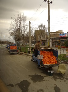 Crossroads are often populated by dealers who sell their goods to those driving by. Here is a cart full of oranges. Photo: KW.