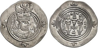 Khosrow, 590-628. Drachm, year 33 of his rule. From Gorny & Mosch auction sale 237 (2016), 1573.