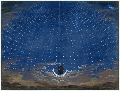 Die Königin der Nacht erscheint. Bühnenbild von Karl Friedrich Schinkel.