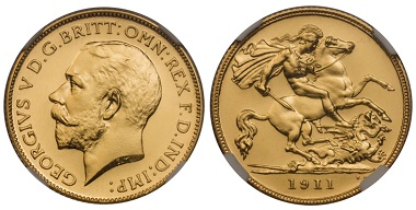 1037476: Great Britain. George V. 12 Piece Set (5 Sovereign through Maundy Penny).