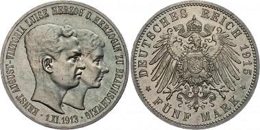 Deutsches Reich / Braunschweig-Lüneburg, 5 Mark 1915.