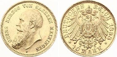 Deutsches Reich / Sachsen Meiningen. 10 Mark 1989.