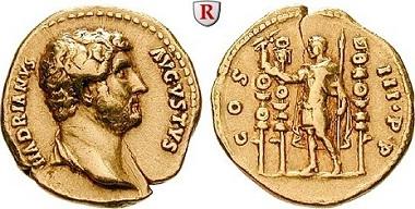 Römische Kaiserzeit. Hadrianus. Aureus.