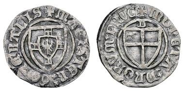 Los 458: Deutscher Orden, Hermann Gans, Statthalter, 1413-1414, Schilling ohne Jahr. Danzig. Neumann 13; Voßberg 634, von großer Seltenheit. Zuschlag: 1.500 Euro (Ausruf: 500 Euro).