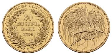 Los 1039: Deutsch-Neuguinea, Wilhelm II., 1888-1918, 20 Neu-Guinea Mark, 1895. Auflage: 1,500. Aktuelles Fotoattest Franquinet liegt vor; Jaeger 709. RR. Zuschlag: 27.000 Euro (Ausruf: 20.000 Euro).