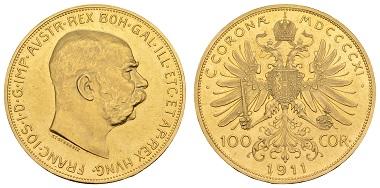 Los 1542: Österreich, Franz Joseph, 1848-1916, 100 Kronen, 1911, Wien. Fried. 507; J. 388; Schl. 653; Herinek 320. Zuschlag: 5.000 Euro (Ausruf: 2.500 Euro).