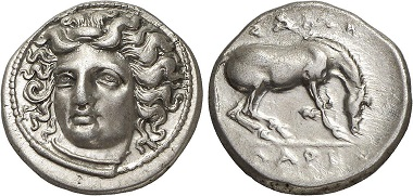 Larissa (Thessaly). Drachm, 350-300. From Gorny & Mosch Auction 224 (2014), 169.