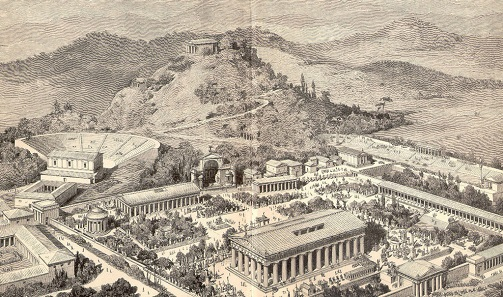 View of ancient Olympia, illustration in Pierers Universal-Lexikon, 1891.