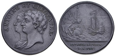 Lot 582: HANOVER, temp. George III. 1760-1820. Black Basalt Porcelain Medal. Roman Series: The Battle of Actium, 21 BC. By Josaiah Wedgewood after the original of J. Dassier and sons. Eisler 55a. Good very fine. From the RBW Collection. Estimate: $100.