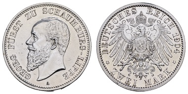 Lot 10126, Schaumburg-Lippe, 2 marks, 1904A, 600 euros
