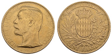 Lot 10314, Monaco, Albert I, 100 francs, 1895, 1200 euros