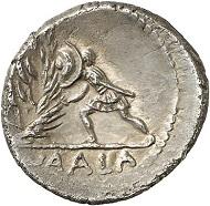 Los 392: RÖMISCHE REPUBLIK. C. Numonius Vaala. Denar, 43 v. Chr. Cr. 514/2. Sehr selten. Vorzüglich. Auf der Vorderseite ist gemäß Bernhard Woytek, Arma et Nummi. Wien (2003), 433ff. der Caesarmörder C. Cassius Longinus dargestellt. Taxe: 4.000,- Euro.