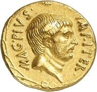 Los 434: SEXTUS POMPEIUS, + 35 v. Chr. Aureus, 37/6, sizilische Münzstätte. Sehr selten. Vorzüglich. Taxe: 150.000,- Euro.