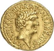 Los 447: MARCUS ANTONIUS, + 30 v. Chr., mit Octavianus. Aureus, 41, Ephesus. Sehr selten. Vorzüglich. Taxe: 60.000,- Euro.