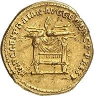 Los 596: TRAIANUS, 98-117, für Divus Titus. Aureus, 112/3. Aus Auktion Slg. Vicomte de Ponton d'Amécourt, Sammlung Dr. Friedrich Imhoof-Blumer, Sammlung Jameson 75. Sehr selten. Sehr schön. Taxe: 20.000,- Euro.