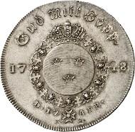 Los 2079: SCHWEDEN. Friedrich I., 1720-1751. Riksdaler 1748, Stockholm. Sehr selten, nur 209 Stück geprägt. Fast Stempelglanz. Taxe: 25.000,- Euro.