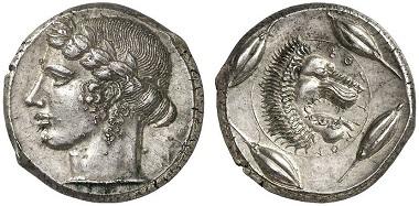 Leontinoi. Tetradrachme, ca. 440-425. Aus Auktion Gorny & Mosch 219 (2014), 38.